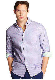 Izod Button Down Slim Fit Stripe Woven Shirt