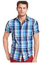 Izod Plaid Saltwater Poplin Shirt