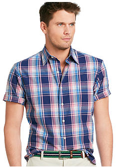 Izod Saltwater Point Collar Poplin Plaid