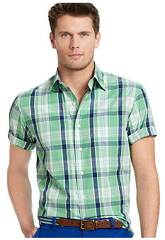 Izod Saltwater Poplin Point Collar Plaid