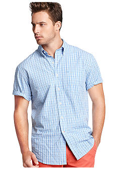 Izod Saltwater Poplin Thin Plaid Shirt