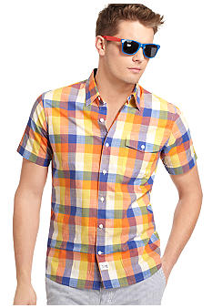 Izod Slim Fit Plaid Slub Shirt