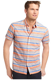 Izod Slim Fit Horizontal Stripe Slub Shirt