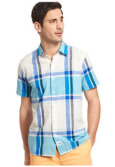 Izod Slim Fit Plaid Point Slub Shirt