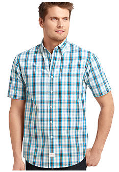Izod Short Sleeve Plaid Button Down
