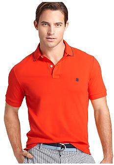Izod Short Sleeve Slim Solid Tipped Pique Polo