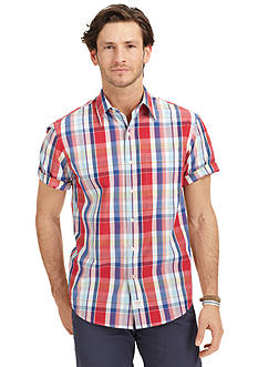 Izod Short Sleeve Point Plaid Shirt