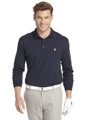 Men: Solids Sale: Midnight IZOD Golf Long Sleeve Athlete Piece Polo