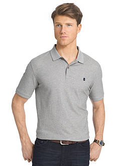 IZOD Short Sleeve Advantage Contrast Logo Pique Polo Shirt