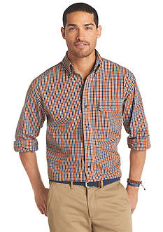 Izod Small Plaid Woven Button-Down