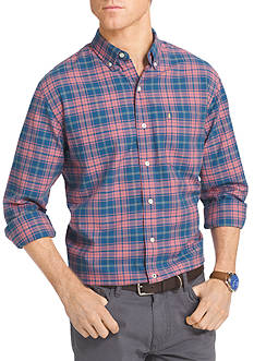 IZOD Newport Oxford Long Sleeve Plaid Woven Shirt