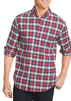 IZOD Newport Oxford Long Sleeve Plaid Woven Shirt