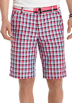 Izod Golf Flat Front Belted Plaid Shorts