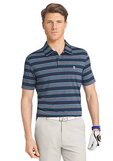 IZOD Golf Short Sleeve Caddie Stripe Heather Jersey Polo Shirt