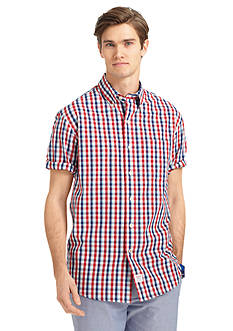 Izod Short Sleeve Button-Down Windowpane Shirt