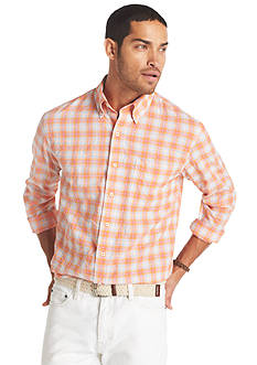 Izod Button-Down Crinkle Plaid