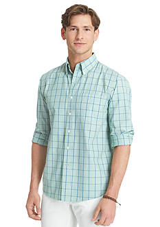 Izod Button-Front Windowpane Shirt