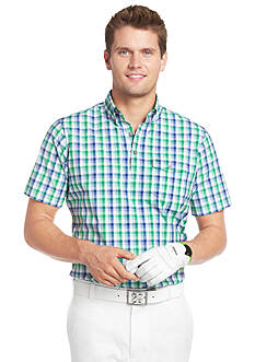 Izod Golf Classic Plaid Poplin Short Sleeve Shirt