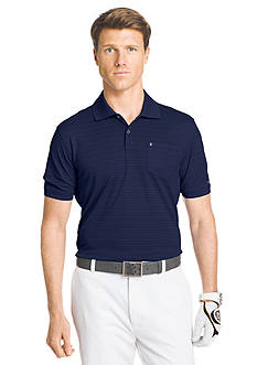 IZOD Golf Short Sleeve Traditional Stripe Textured Polo Shirt