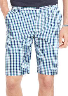 Izod Poplin Gingham Flat-Front Shorts