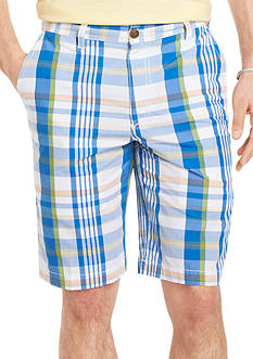 Izod Poplin Plaid Flat-Front Shorts
