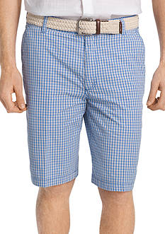 IZOD Belted Poplin Plaid Shorts
