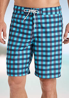IZOD Gingham Board Shorts