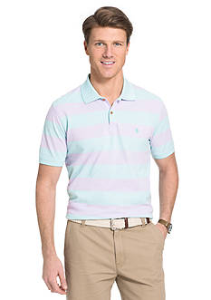IZOD Short Sleeve Newport Oxford Strip Polo Shirt