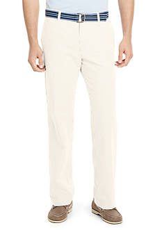 Izod Straight-Fit Seersucker Flat-Front Wrinkle-Free Pants with Belt