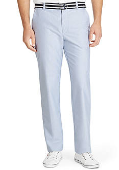 Izod Straight-Fit Flat-Front Non-Iron Belted Oxford Pants