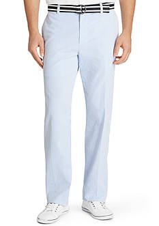 Izod Straight-Fit Flat-Front Non-Iron Belted Seersucker Pants