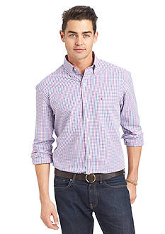 IZOD Long Sleeve Tattersal Woven Button Down Shirt