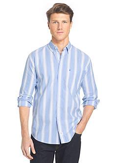 IZOD Long Sleeve Newport Oxford Stripe Button Down Shirt