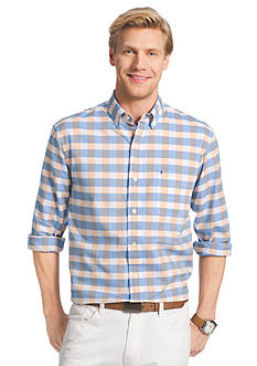 IZOD Long Sleeve Newport Oxford Large Check Button-Down Shirt