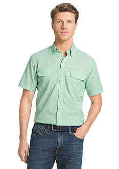 IZOD Short Sleeve Solid Chambray Button Down Shirt