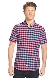 IZOD Short Sleeve Dockside Chambray Gingham Shirt