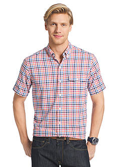 IZOD Short Sleeve Chambray Multi Gingham Button Down Shirt