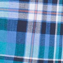 Young Men: Short Sleeves Sale: Algiers Blue IZOD Short Sleeve Chambray Multi Plaid Shirt