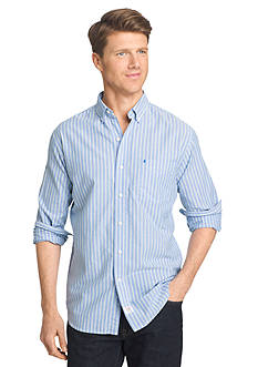IZOD Long Sleeve Newport Oxford Stripe Button Down Shirt