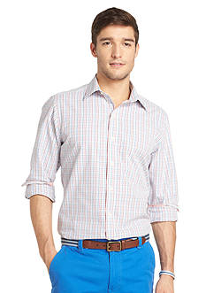 Izod Slim Fit Check Button-Front Woven Shirt