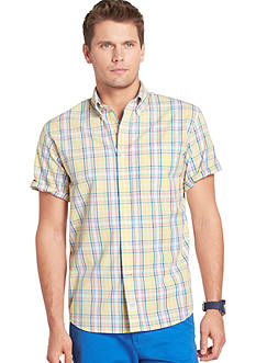 Izod Plaid Button-Front Poplin Shirt