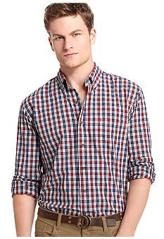 Izod Big & Tall Poplin Tartan Shirt