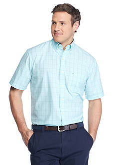 IZOD Big & Tall Short Sleeve Relaxed Classics Seaport Poplin Plaid Shirt