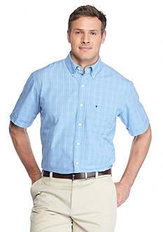 IZOD Big & Tall Short Sleeve Relaxed Classics Seaport Poplin Plaid Shirt