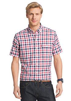 IZOD Big & Tall Short Sleeve Relaxed Classics Dockside Chambray Gingham Shirt