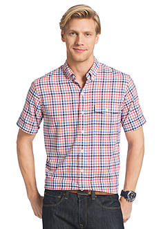IZOD Big & Tall Short Sleeve Chambray Small Gingham Shirt