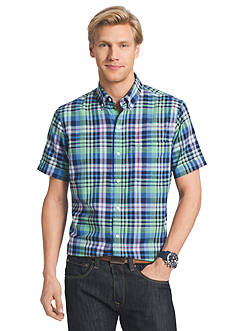 IZOD Big & Tall Short Sleeve Dockside Chambray Large Plaid Woven Shirt