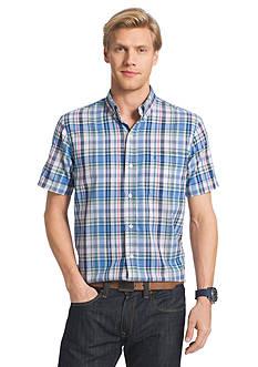 IZOD Big & Tall Short Sleeve Dockside Chambray Plaid Shirt
