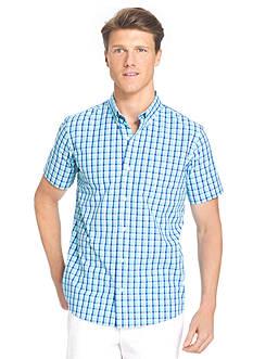 IZOD Big & Tall Short Sleeve Plaid Non-Iron Button Down Shirt