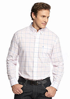 IZOD Big & Tall Long Sleeve Plaid Button Down Shirt